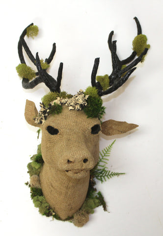 Burlap Deer Head - Vintage Affairs - Vintage By Design LLC
