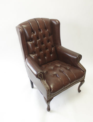 Brown Leather Wingback Chairs with Nail Head Trim