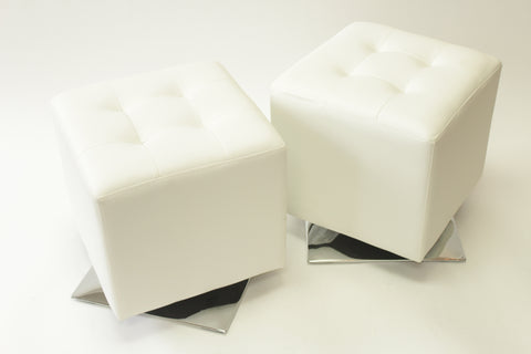Pair of Modern White Cube Seats/Stools - Vintage Affairs - Vintage By Design LLC