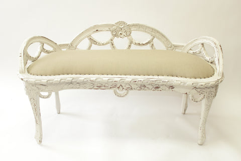 Ornately Carved White Linen Upholstered Bench with a Low Back (#1138A) - Vintage Affairs - Vintage By Design LLC