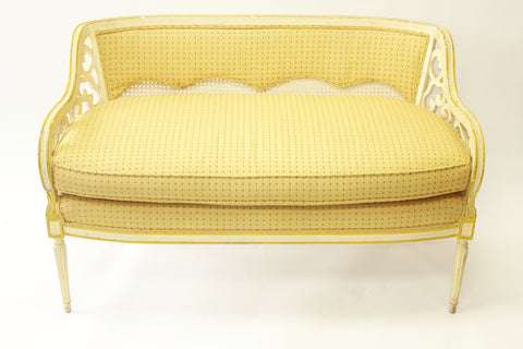 Cream and Yellow Cane Back & Cushion Settees - Vintage Affairs - Vintage By Design LLC