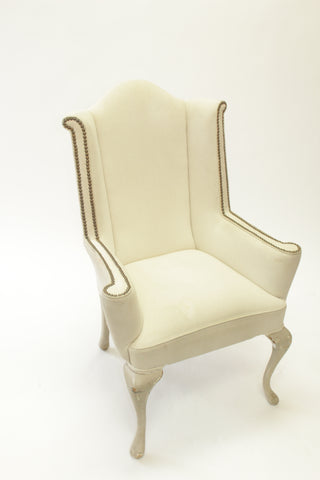 Queen Anne Cream Linen Wingback Chairs (#1143) - Vintage Affairs - Vintage By Design LLC