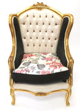 Gold and Black Arm Chairs - Vintage Affairs - Vintage By Design LLC