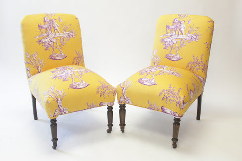 Pair of Small Chinoiserie Upholstered Slip Chairs - Vintage Affairs - Vintage By Design LLC
