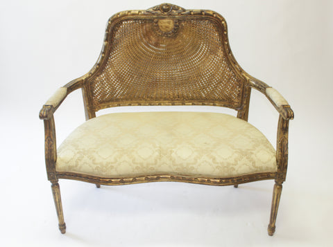 Louis XVI Style Giltwood Caned Back Upholstered Settee