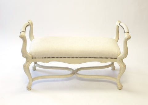White Soft Seat Bench with Arms and Nail Trim - Vintage Affairs - Vintage By Design LLC