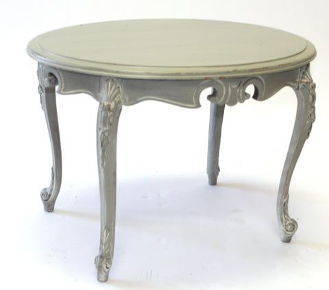 Gray Shabby Chic Coffee Table with Carved Legs (#1135C) - Vintage Affairs - Vintage By Design LLC