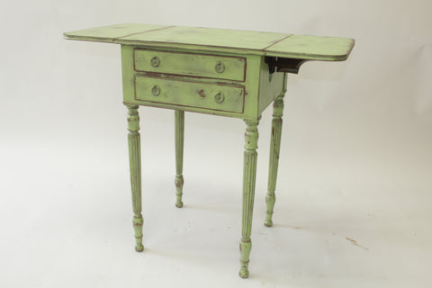 Green Shabby Chic Drop Leaf Side Table (#1163A) - Vintage Affairs - Vintage By Design LLC