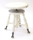 Vintage White Piano/Vanity Stool (#1139B) - Vintage Affairs - Vintage By Design LLC