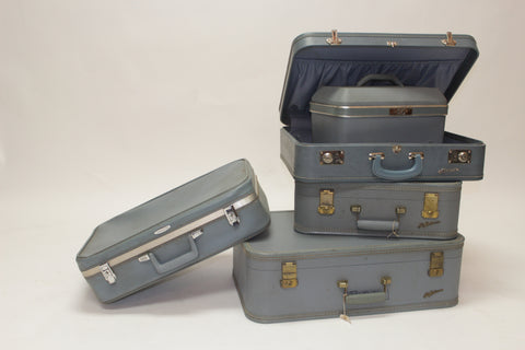 Set of 5 Blue Antique Suitcases - Vintage Affairs - Vintage By Design LLC
