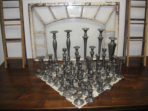 Assorted Pewter Candlestick Holders - Vintage Affairs - Vintage By Design LLC