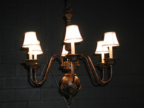 Bronze Chandeliers w/ Shades (#1212A) - Vintage Affairs - Vintage By Design LLC