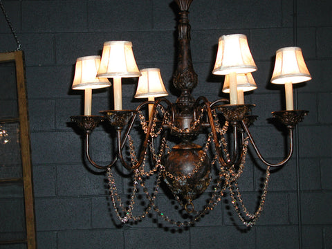 Bronze Chandeliers w/ Shades and Crystals (#1212D)