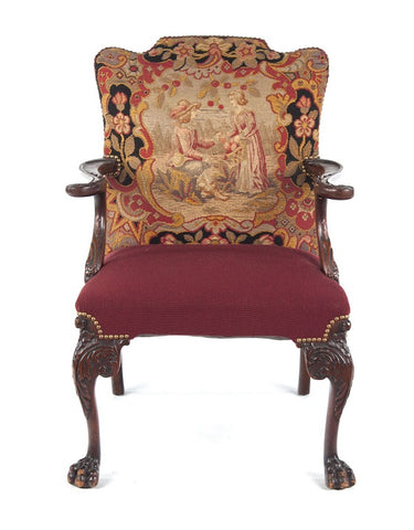 George II Style Needlepoint Walnut Armchair (#1149D) - Vintage Affairs - Vintage By Design LLC