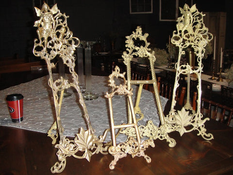 Ornate Brass Tabletop Easels (#1088A) - Vintage Affairs - Vintage By Design LLC
