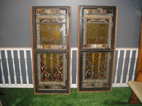 Pair of Stained Glass Panels in Brown Wooden Frames (#1317)