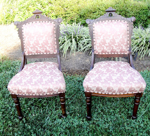 Salmon Eastlake Chairs (#1180B) - Vintage Affairs - Vintage By Design LLC