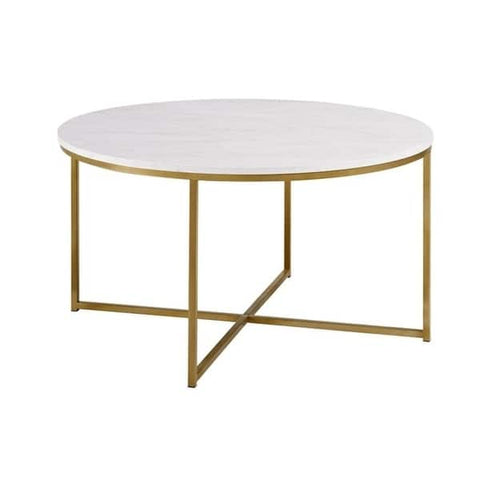 Silver Orchid Helbling 36-inch Round Coffee Table with Gold Metal X-Base - 36 x 36 x 19h - Vintage Affairs - Vintage By Design LLC