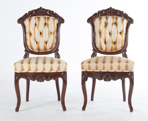 Pair of Rococo Revival Walnut Side Chairs - Vintage Affairs - Vintage By Design LLC