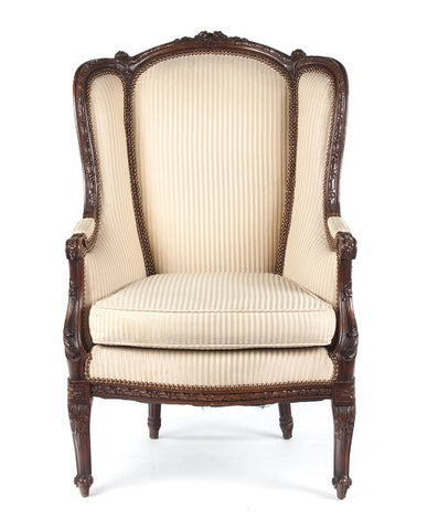 Louis XVI Style Carved Walnut Bergere a Orielle - Vintage Affairs - Vintage By Design LLC