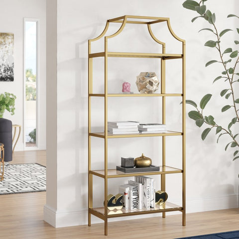 Wide Gold Bookshelf with Glass Shelving - Vintage Affairs - Vintage By Design LLC