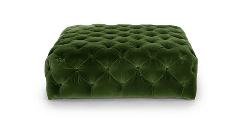Diamond Grass Green Ottoman - Vintage Affairs - Vintage By Design LLC