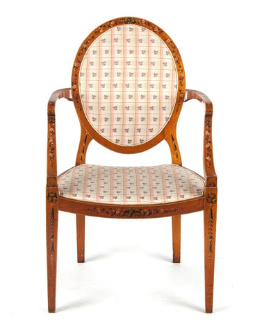 Adams Style Painted Satinwood Chair (#1136A) - Vintage Affairs - Vintage By Design LLC