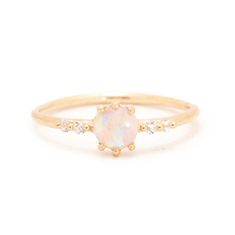 round opal ring Juliet diamond 14k farimined gold ethical valley rose