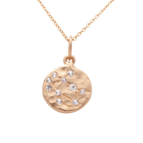 gemini zodiac necklace charm 14k gold diamonds horoscope jewelry gift for her valley rose