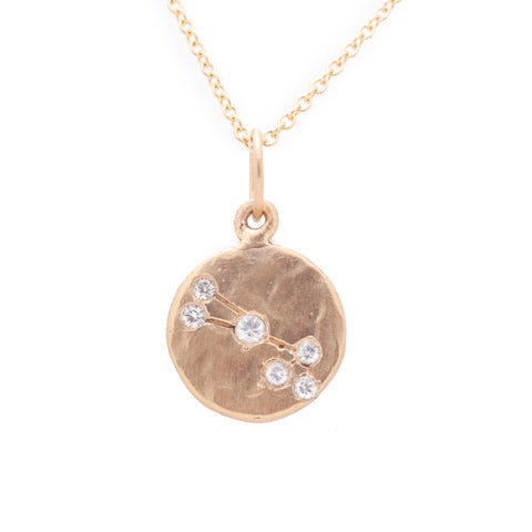 taurus zodiac necklace charm 14k gold diamonds horoscope jewelry gift for her valley rose