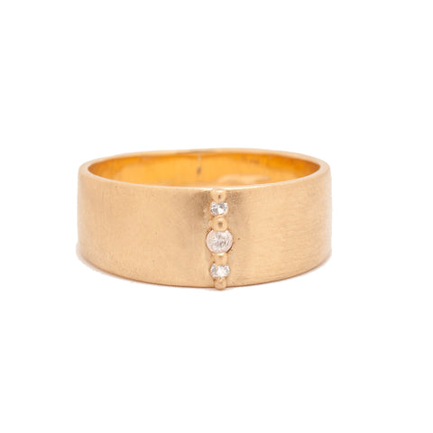 wide bands cigar rings 14k gold diamond ethical valley rose jewelry