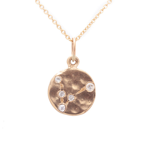 pisces zodiac necklace charm 14k gold diamonds horoscope jewelry gift for her valley rose