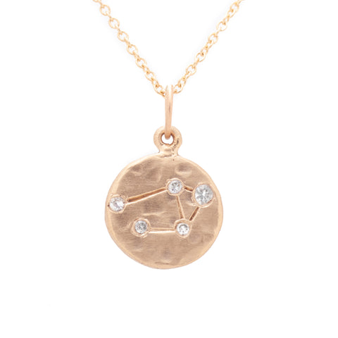 libra zodiac necklace charm 14k gold diamonds horoscope jewelry gift for her valley rose