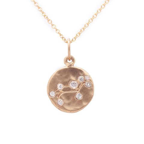 leo zodiac necklace charm 14k gold diamonds horoscope jewelry gift for her valley rose