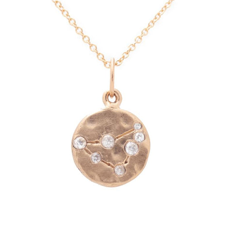 capricorn zodiac necklace charm 14k gold diamonds horoscope jewelry gift for her valley rose