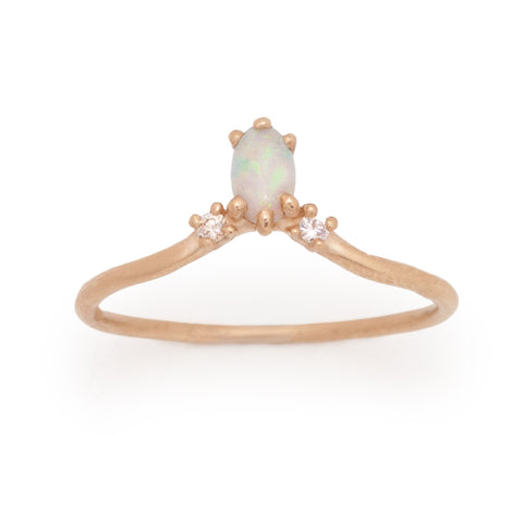 oval opal ring stacking carina diamond 14k farimined gold ethical valley rose