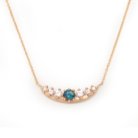 fairmined gold valley rose jewelry rustic green sapphire diamond necklace