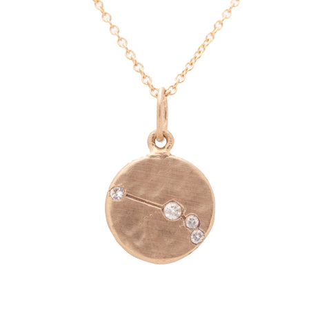 aries zodiac necklace charm 14k gold diamonds horoscope jewelry gift for her valley rose