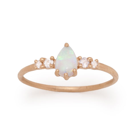 pear opal ring Juliet diamond 14k farimined gold ethical valley rose