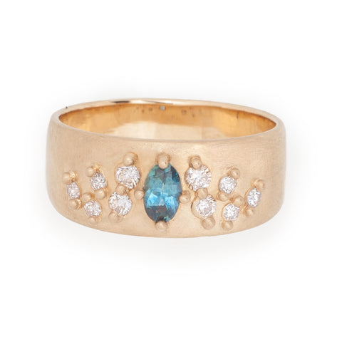 wide bands cigar rings teal sapphire oval 14k gold diamond ethical valley rose jewelry