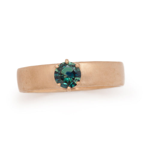 wide bands cigar rings teal sapphire 14k gold ethical valley rose jewelry