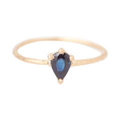 gothic pear sapphire solitaire ring 14k ethical fairmined gold