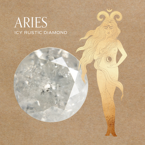 Aries zodiac diamond jewelry engagement ring ideas 14k gold fairmined conflict free icy rustic diamond