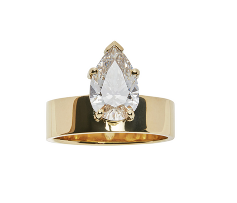 Top 10 Ethical Engagement Rings: The Best Alternative Conflict-Free Rings of 2021 Pear Diamond Monolith Ring by WWAKE