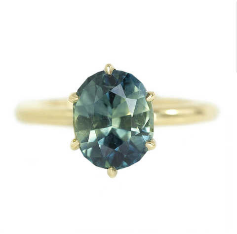 Top 10 Ethical Engagement Rings: The Best Alternative Conflict-Free Rings of 2021 Teal Green Parti Sapphire Ring by Anueva