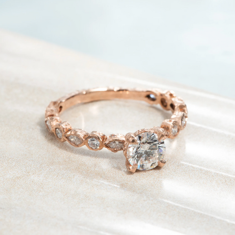 Top 10 Ethical Engagement Rings: The Best Alternative Conflict-Free Rings of 2021 Baroque Diamond Solitaire Ring (in Rose Gold) by Malleable Jewelers