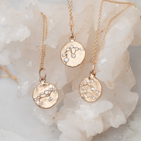 zodiac necklace charm 14k gold diamonds horoscope jewelry gift for her valley rose
