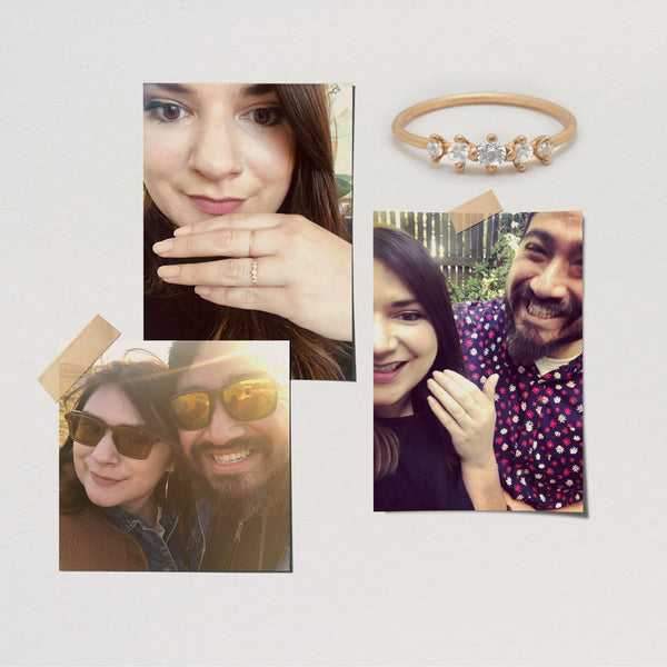 mary and alejandro engagement story meissa ring 14k ethical gold jewelry