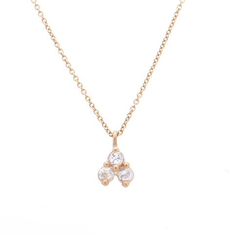 14k gold white sapphire diamond necklace