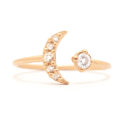 moon jewelry meaning 14k gold diamonds ring luna valley rose ethical jewelry